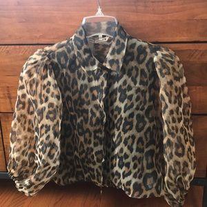 Zara Leopard Puff Organza Sleeves Top